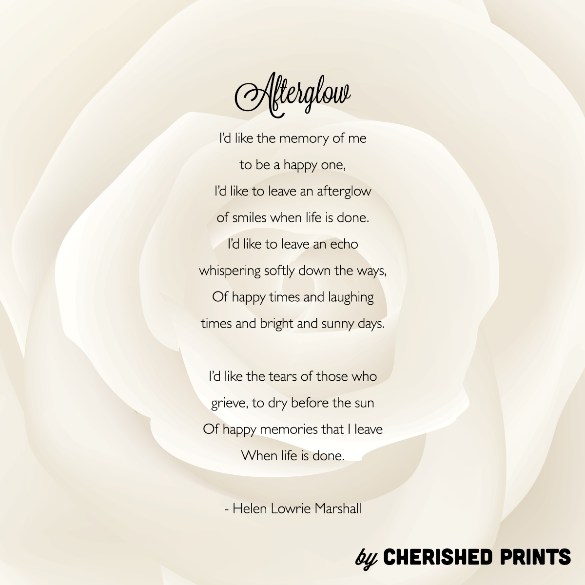 Cherished prints funeral and memorial stationery afterglow