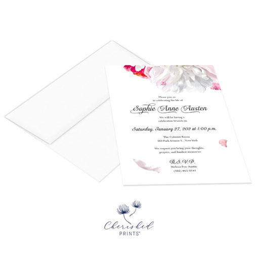 Beautiful soft pink and white peonies celebration of life invitation with envelopes