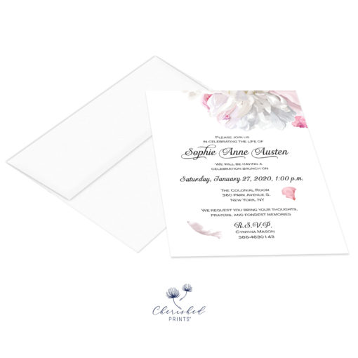 soft pink and white peonies invitation with envelope