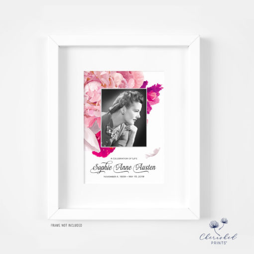 Framed soft pink and white peonies memorial card