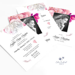 soft pink and white peonies invitations stacked
