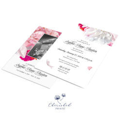 Beautiful soft pink and white peonies celebration of life invitation
