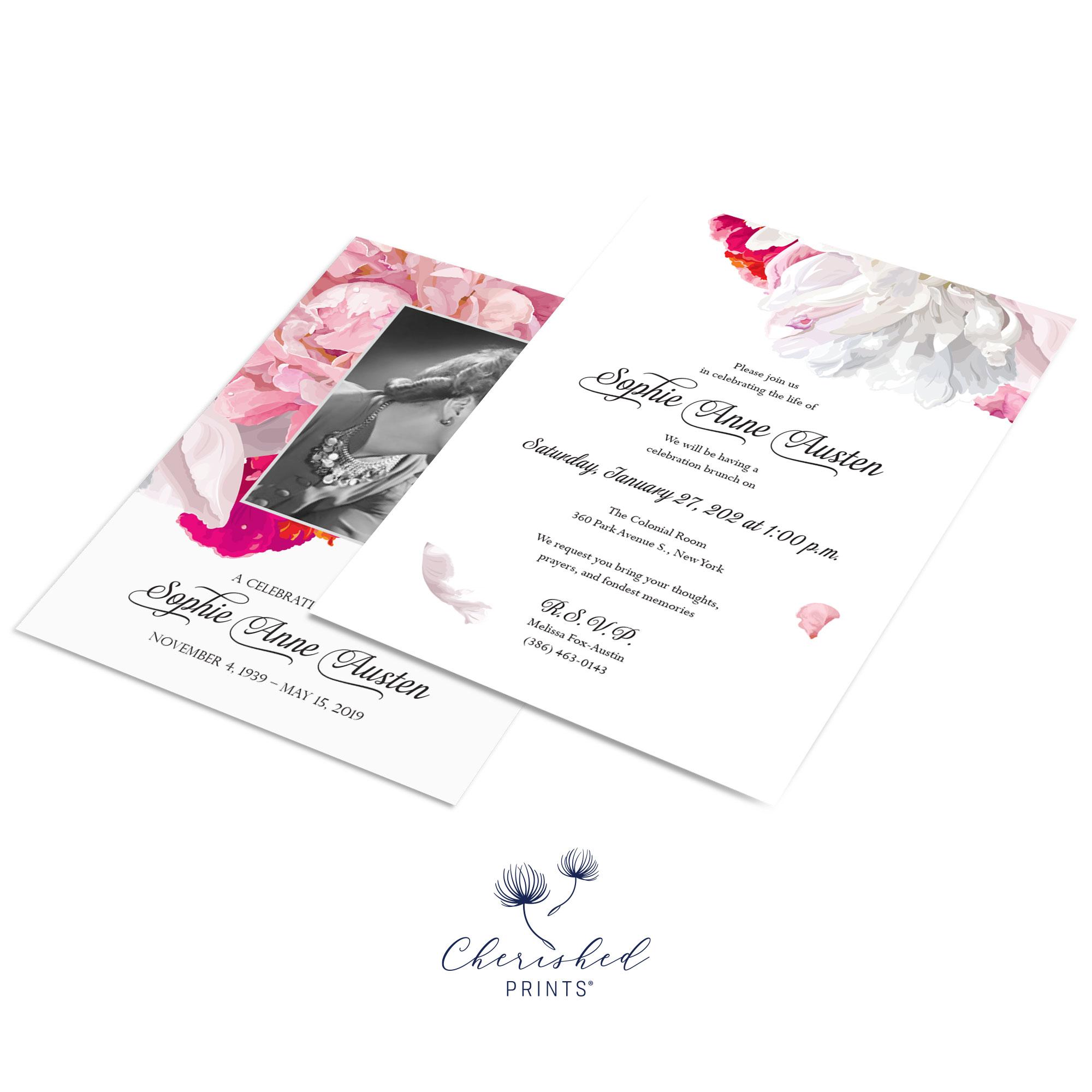 Beautiful soft pink and white peonies celebration of life invitation