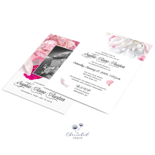 soft pink and white peonies invitation