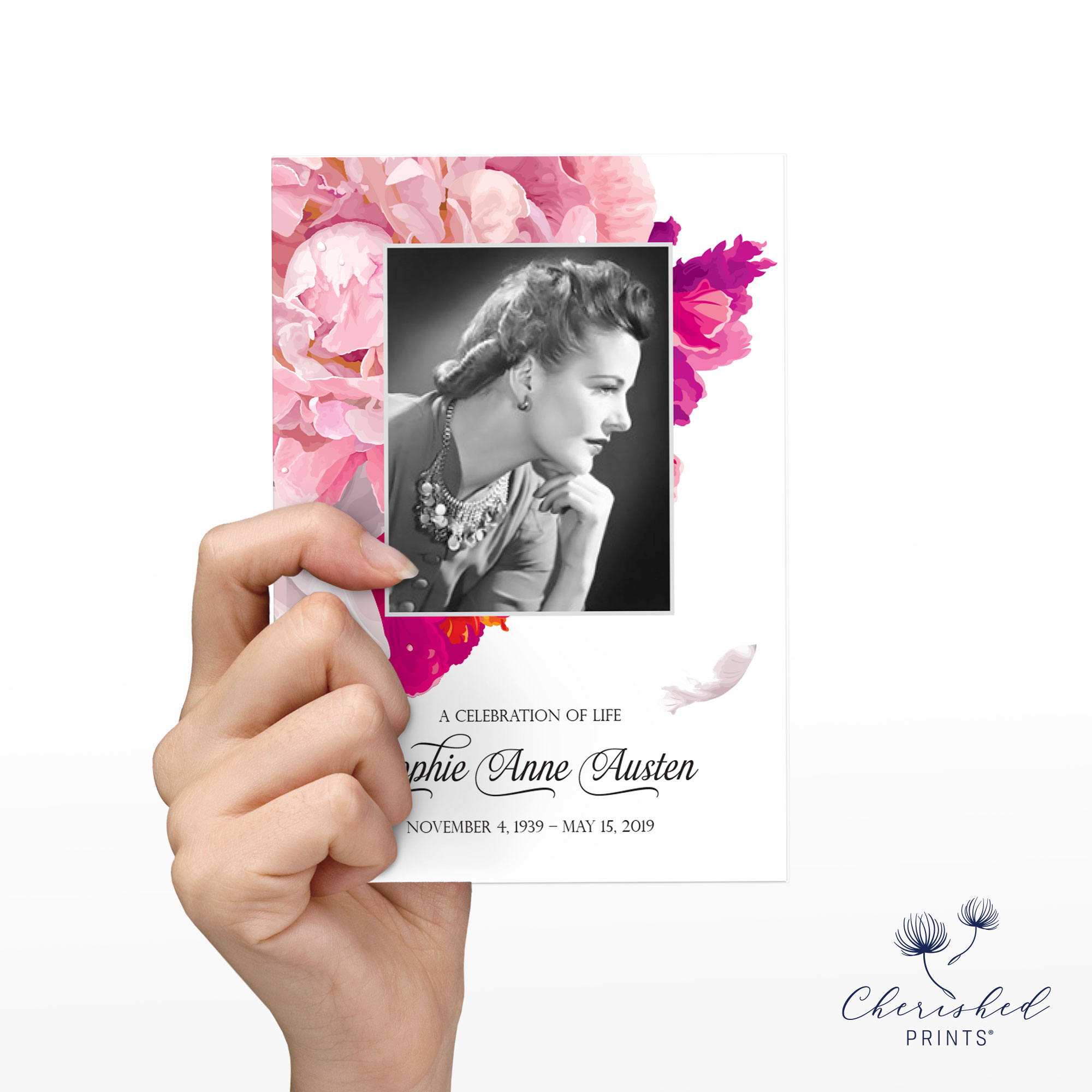 Back Beautiful soft pink and white peonies celebration of life invitation