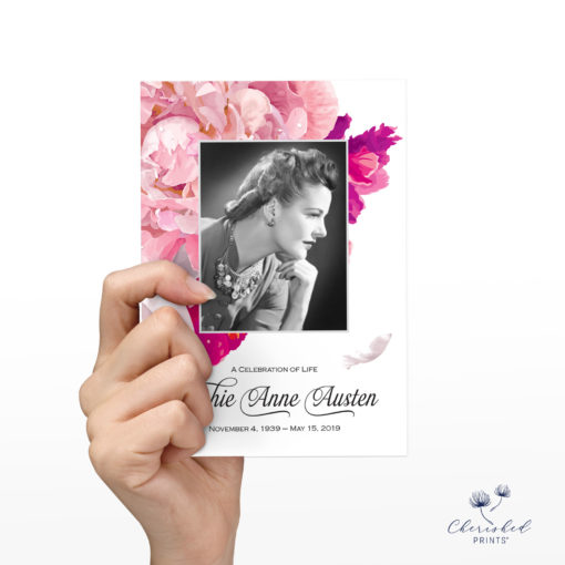 soft pink and white peonies announcement back