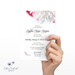 Front Beautiful soft pink and white peonies celebration of life invitation
