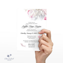 soft pink and white peonies invitation front