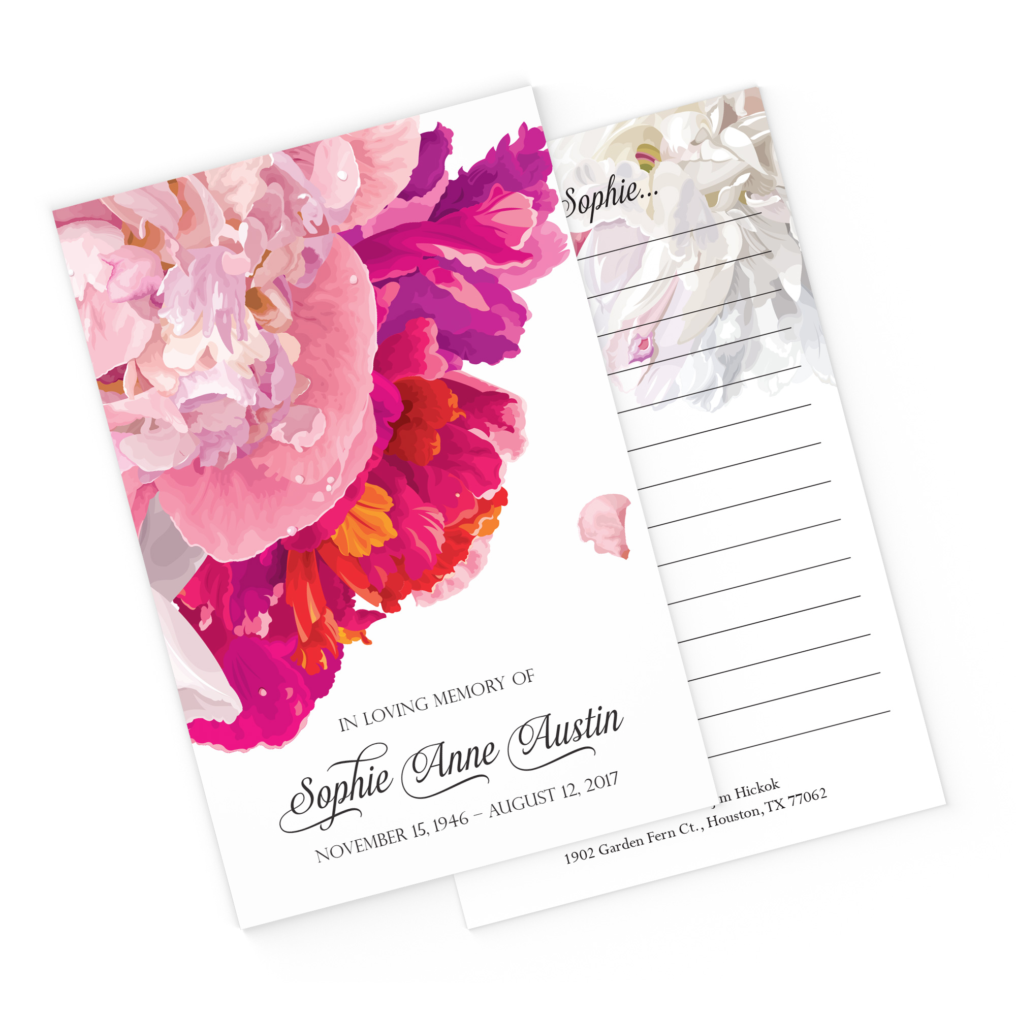 Soft Peonies Share a Memory Cards