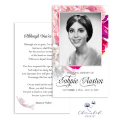 Beautiful Soft Peonies Funeral Card