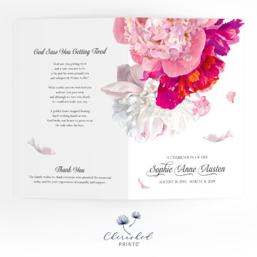 Beautiful Soft Peonies Funeral Program