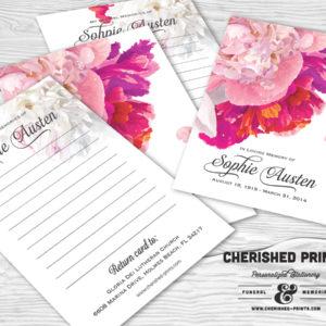 Beautiful Soft Peonies Memorial Funeral Memory Notecards