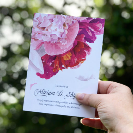 peonies thank you card