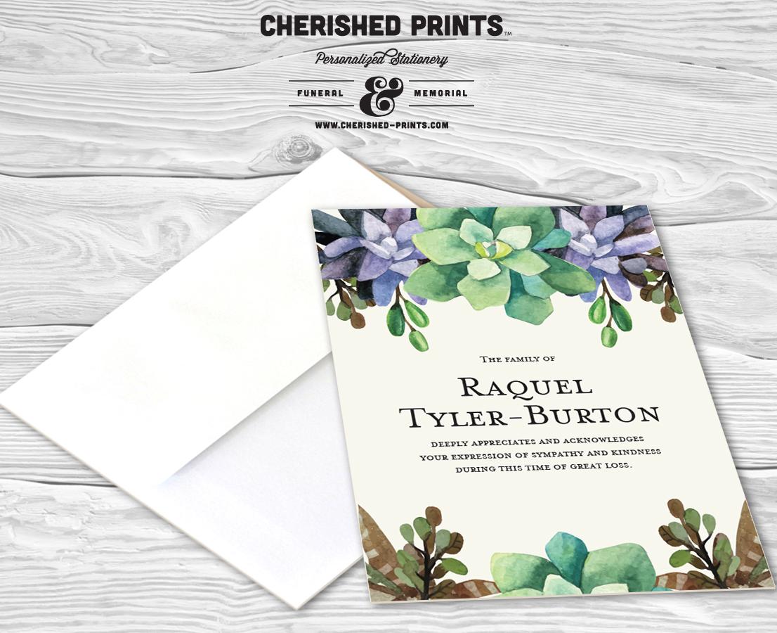 succulents thank you cards sympathy  u2022 cherished prints