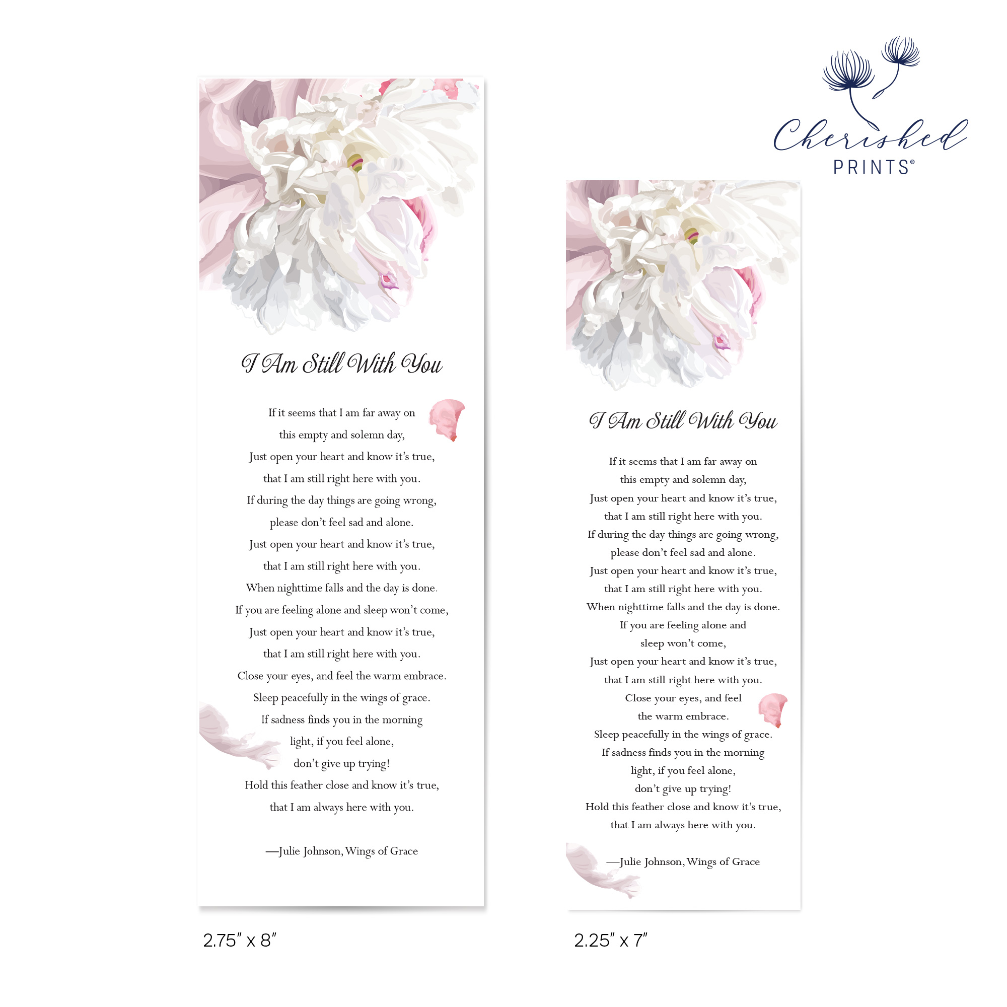 Beautiful soft pink and white peonies bookmarks