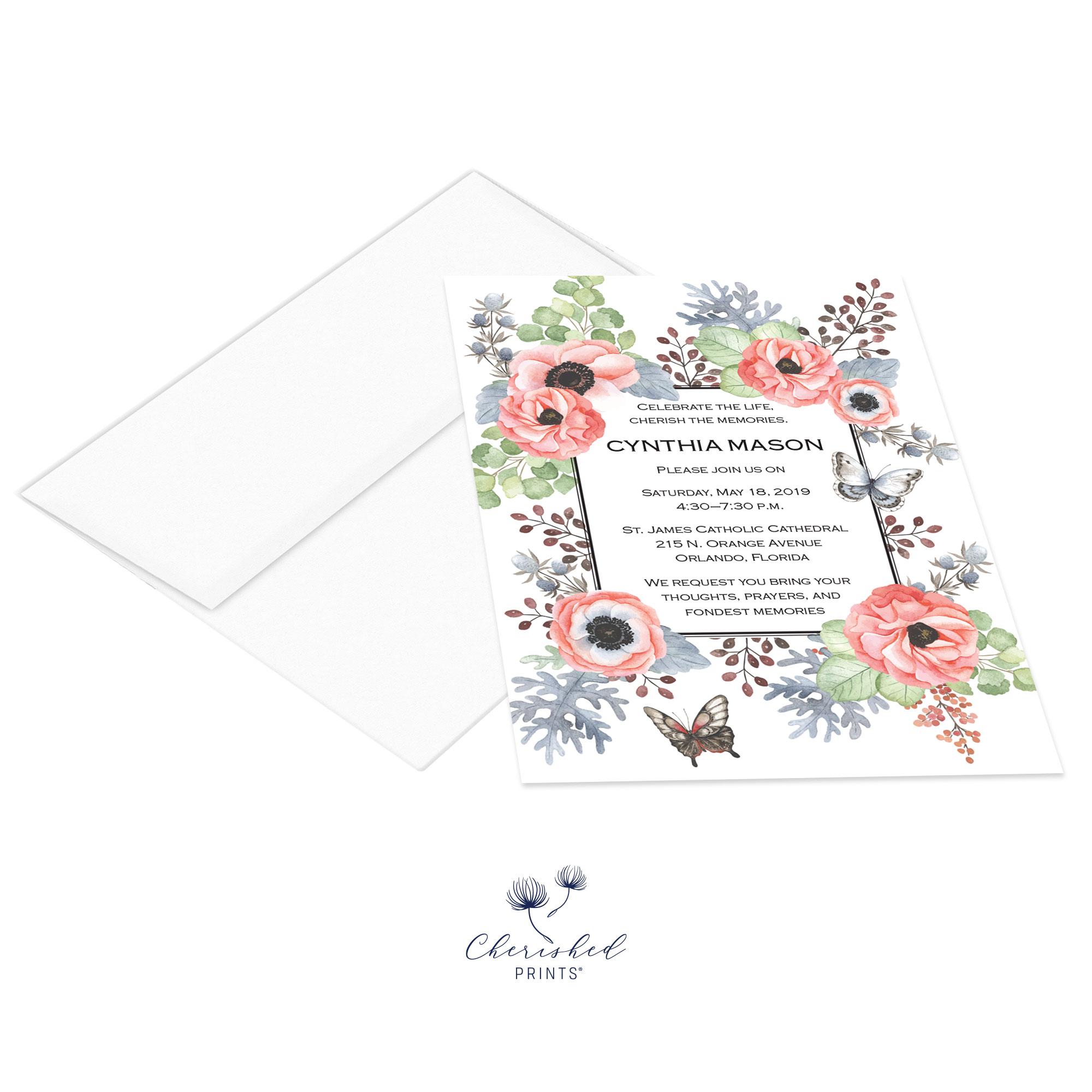 Anemones Invitation with envelope