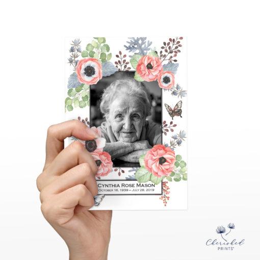 Anemones memorial card back