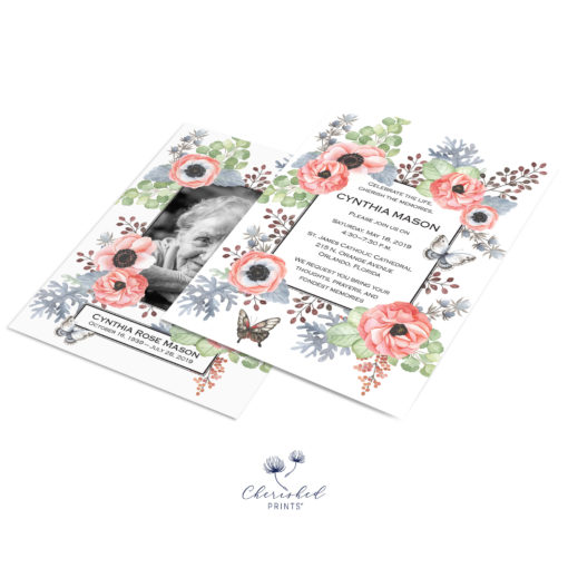 Anemones Invitation Front and Back