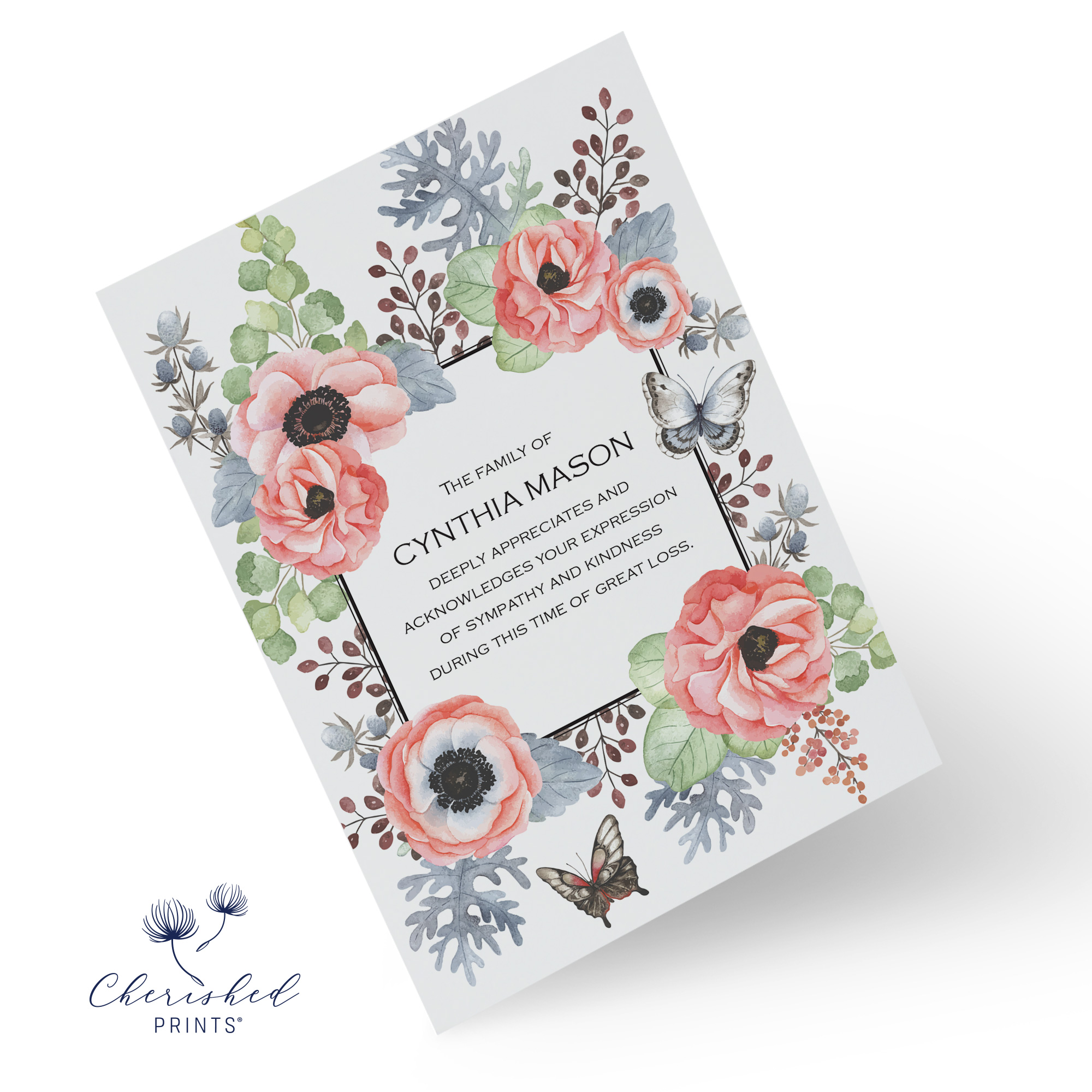 Anemones Thank You Card