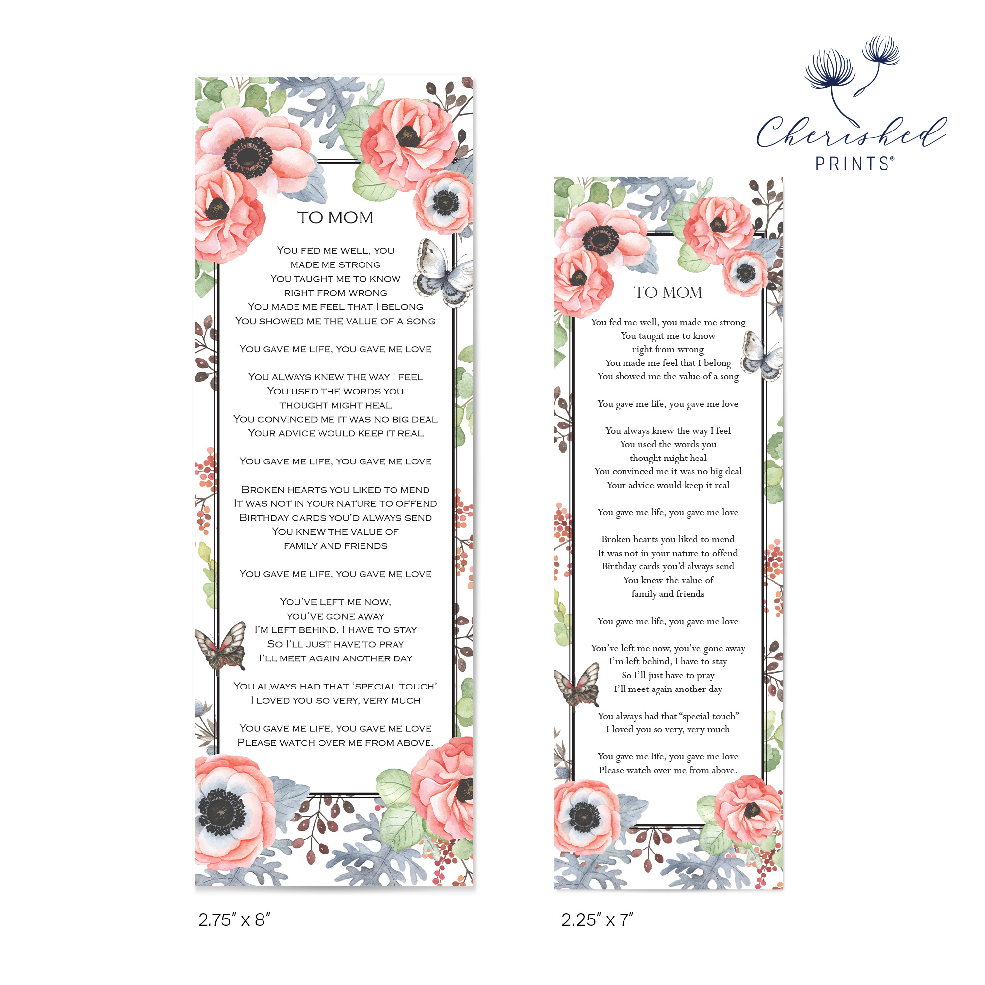 Anemones and Butterflies Bookmark Size Comparison Back