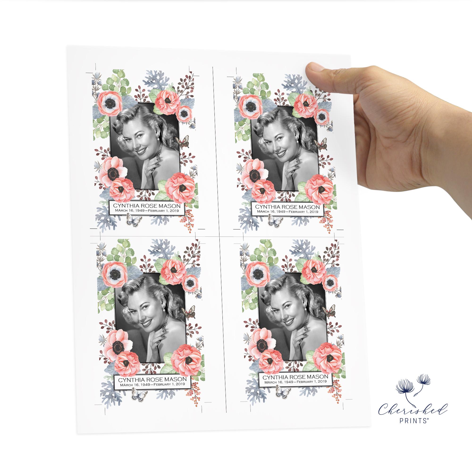 Anemones and Butterflies Prayer Card 4up