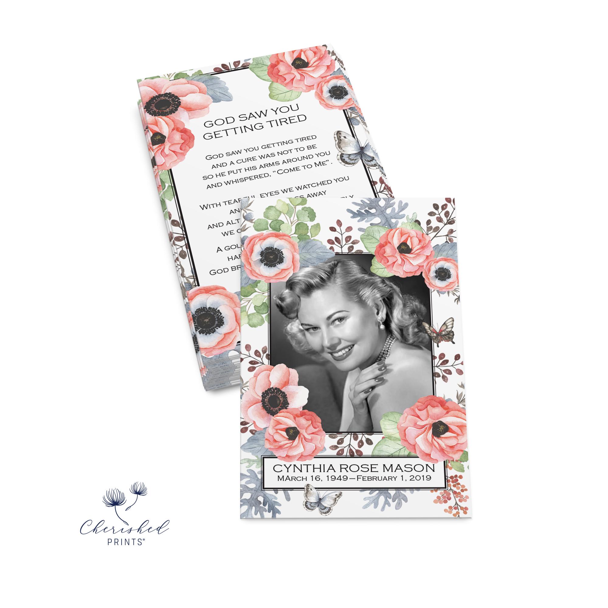 Anemones and Butterflies Prayer Card