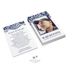 Blue Block Print Prayer Card