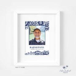 Block Print Memorial Card Framed