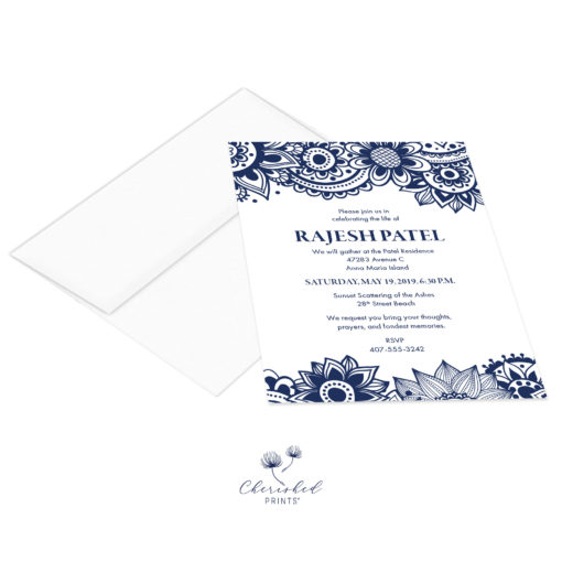 Block Print Invitation with envelope