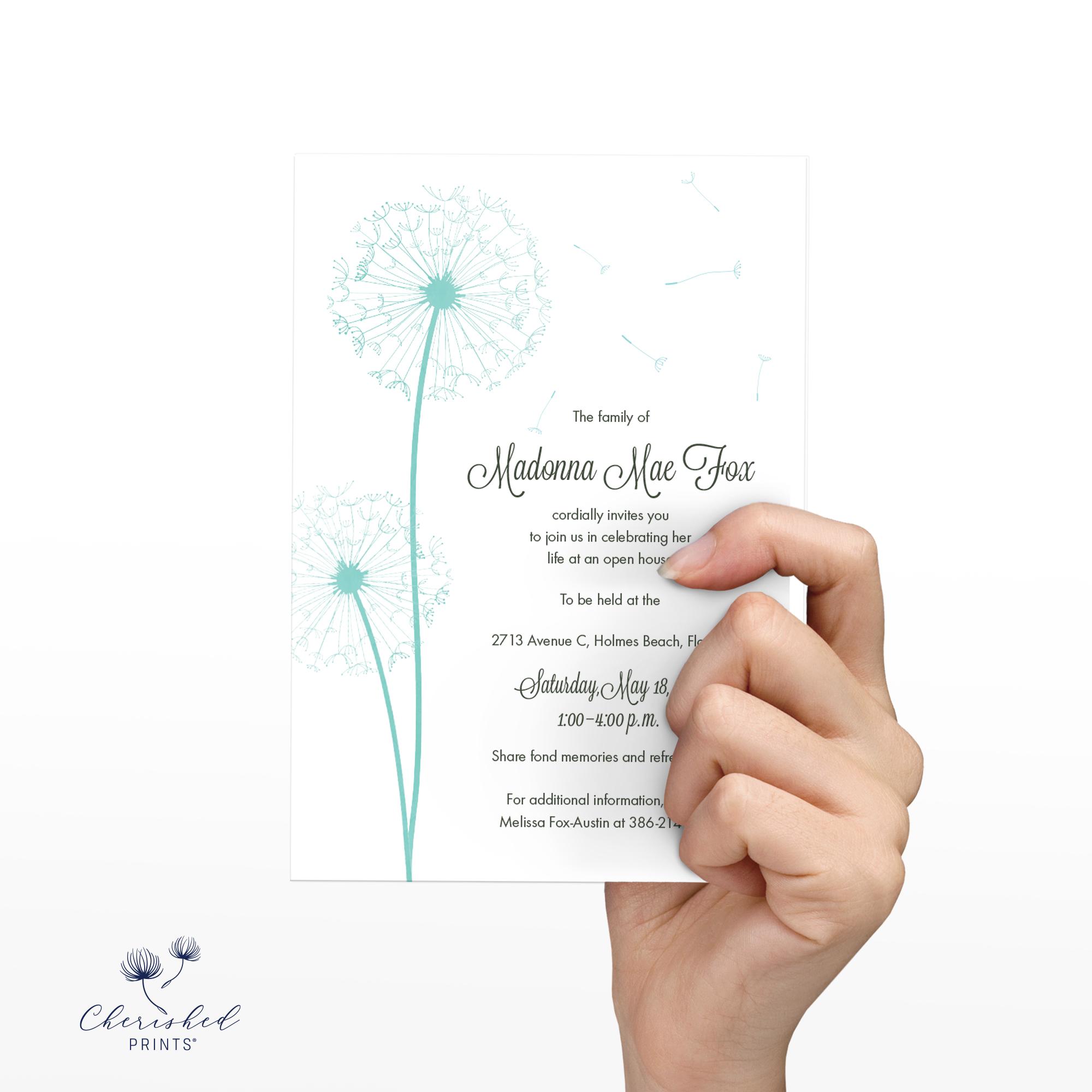 Dandelions Invitation wording