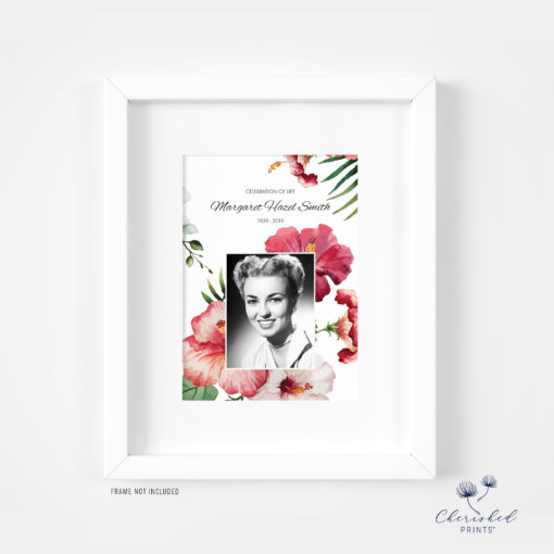 Framed Tropical flowers invitation
