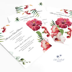 Tropical flowers invitation no photos