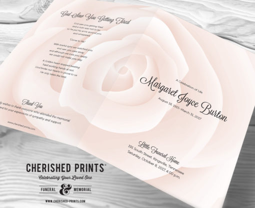 Pink Rose Celebration of Life Program front and back cover close up