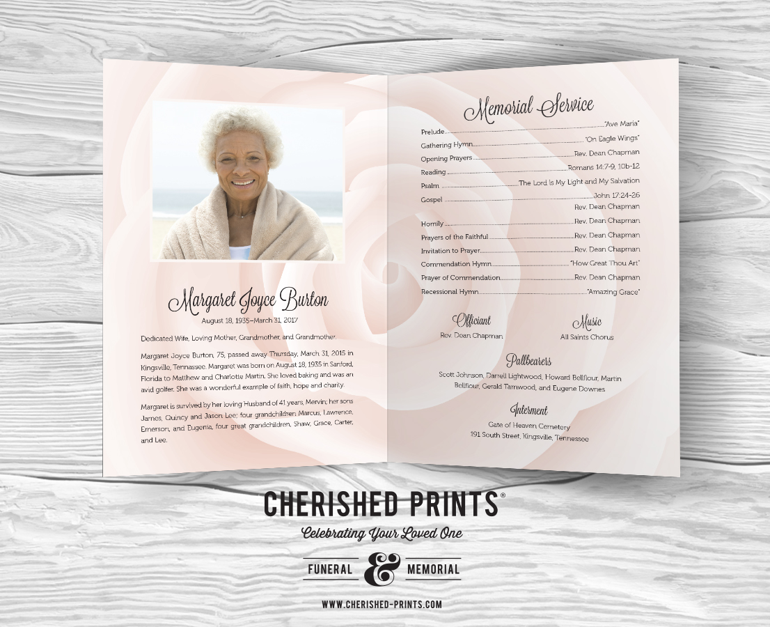 White Rose Celebration Of Life Program For Funerals And
