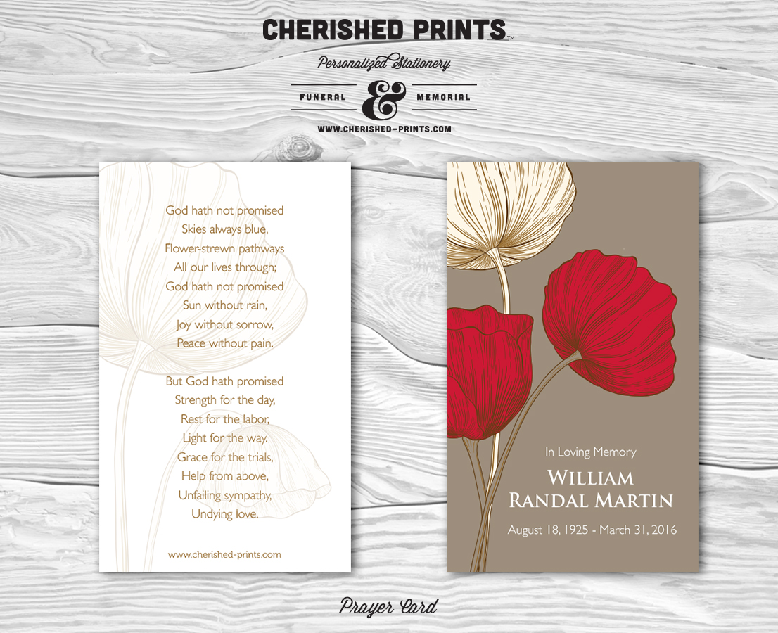 poppies remembrance prayer cards funeral cards memorial