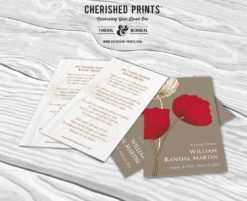 Red and White Remembrance Poppies Prayer Card Front and Back