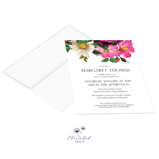 Spring Flowers Invitation with envelope
