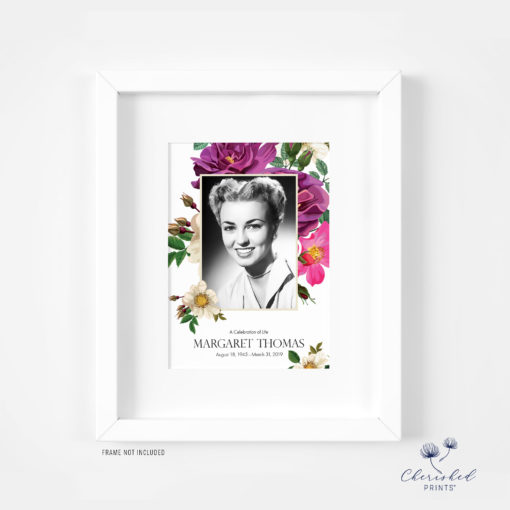 Spring Flowers Memorial Card Framed