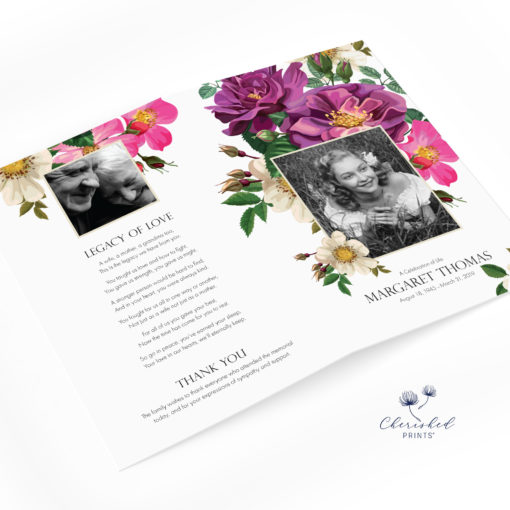 Spring Flowers Funeral Program Bifold