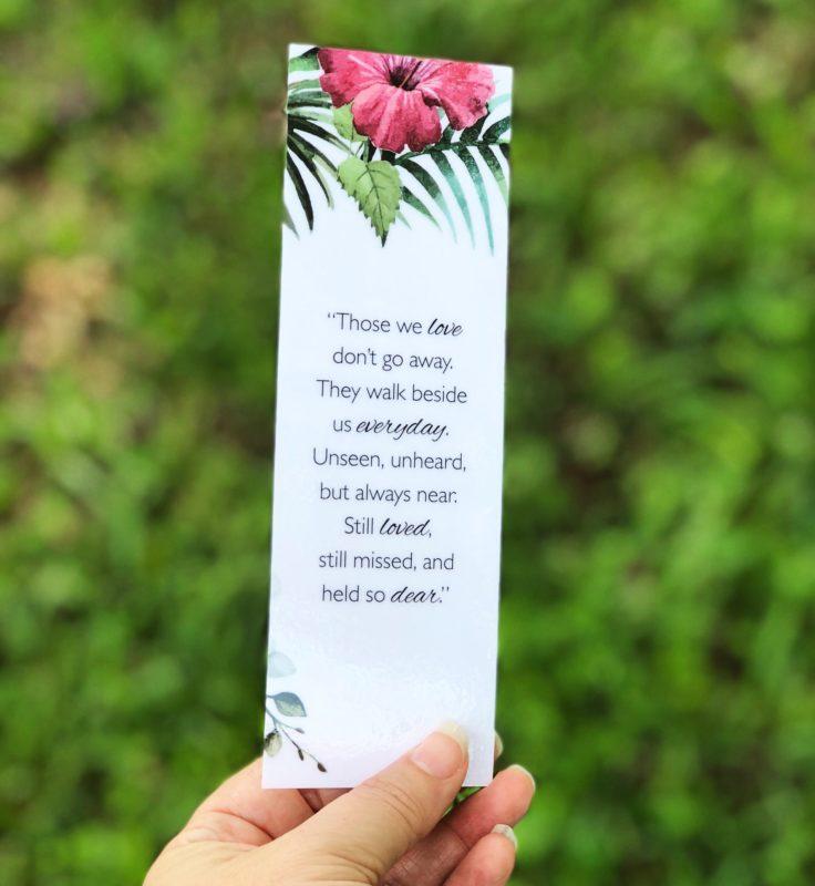 Small Tropical flowers memorial bookmark laminated
