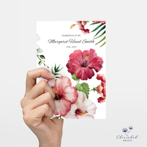No photo back of Tropical flowers invitation
