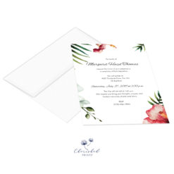 Tropical flowers invitation with envelope