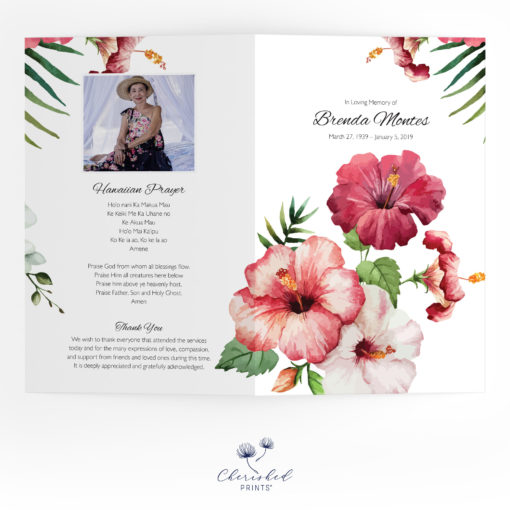 Tropical Flowers Funeral Program