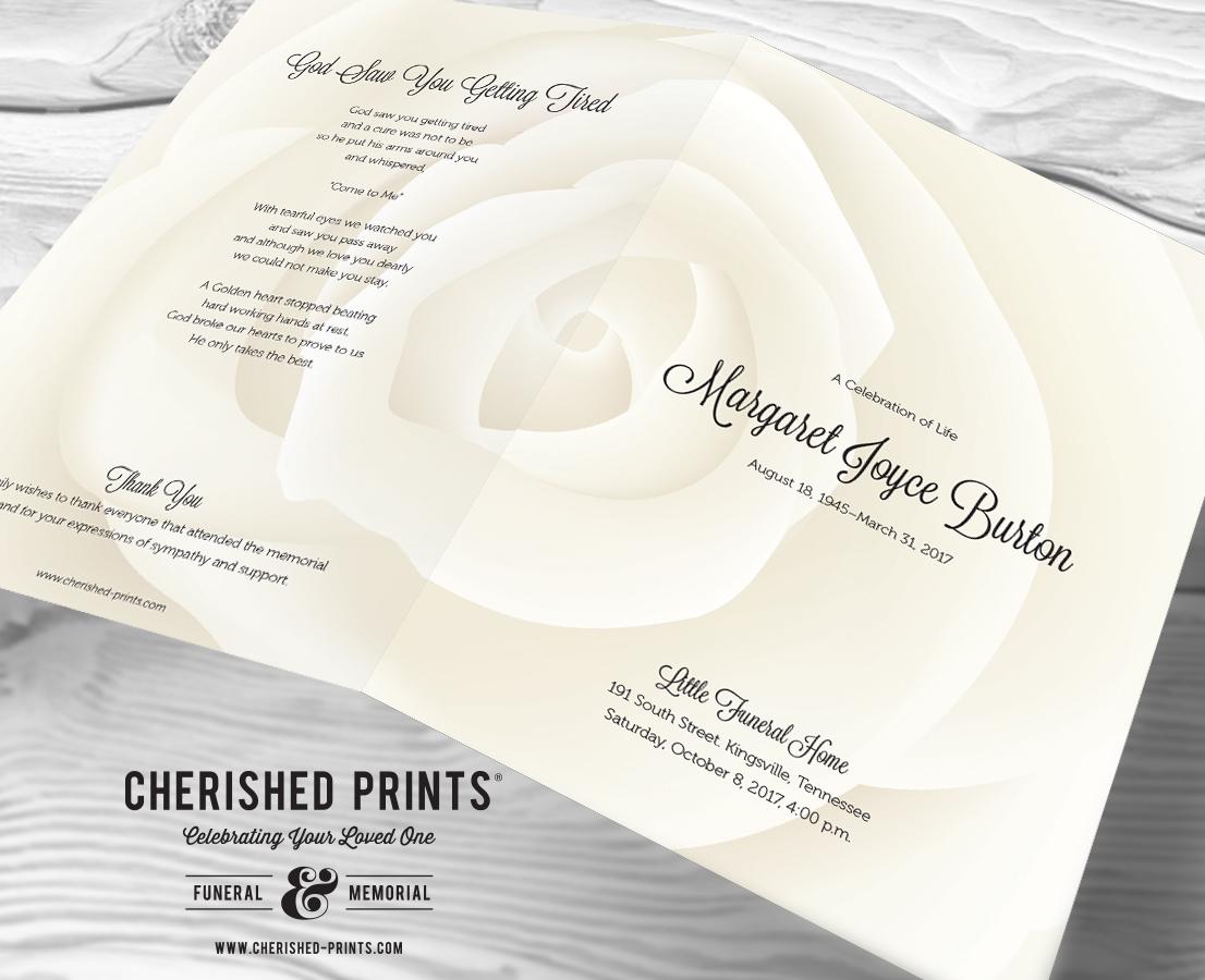 Close up view of the Modern White Rose White Rose Celebration of Life Program, Funeral Program, Memorial Service Program