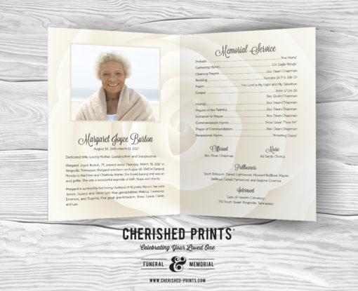 White Rose White Rose Celebration of Life Program, Funeral Program, Memorial Service Program