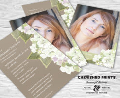 Hydrangea Invitation, Mourning Card, Funeral Announcement