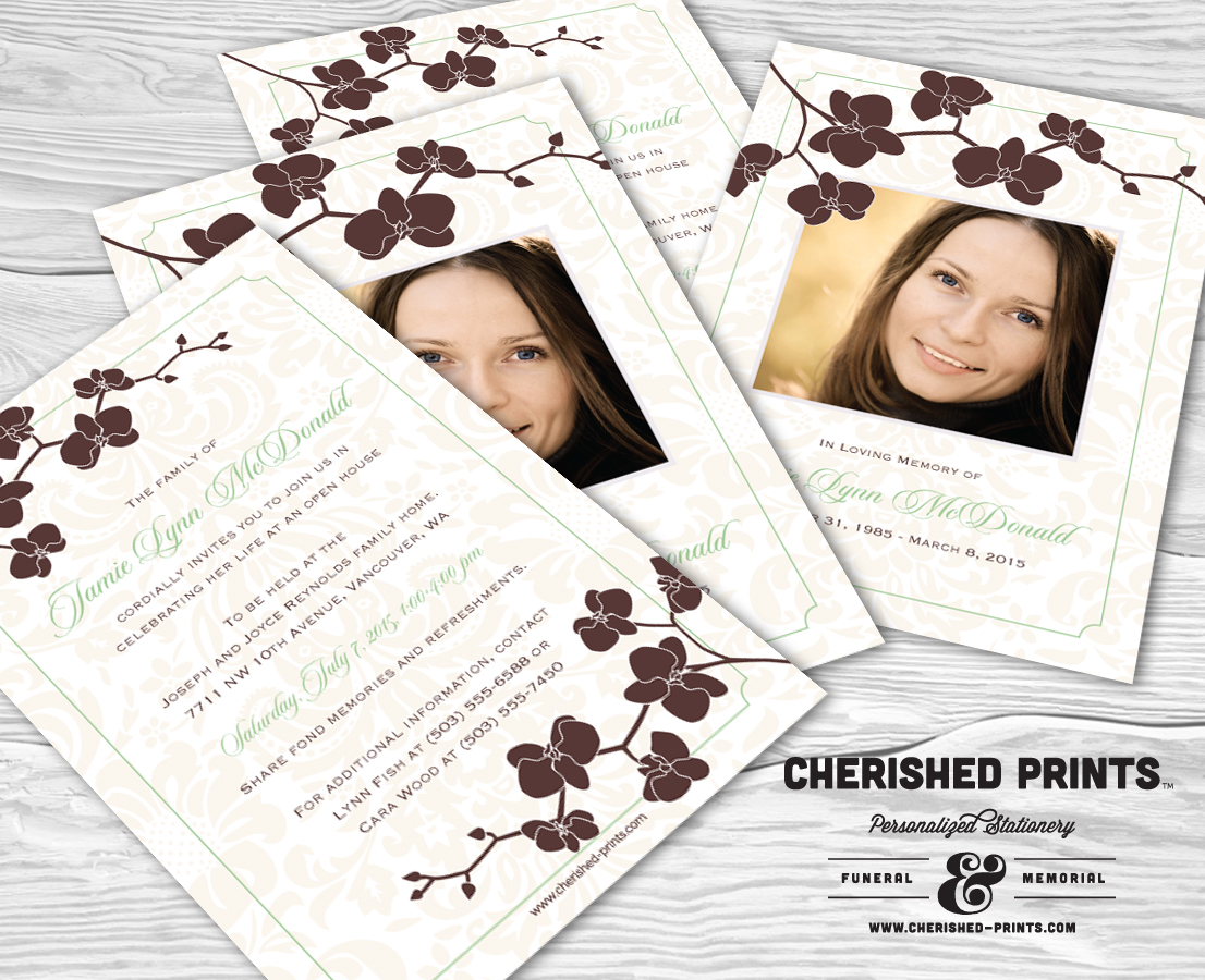 Orchid Celebration of Life Invitation