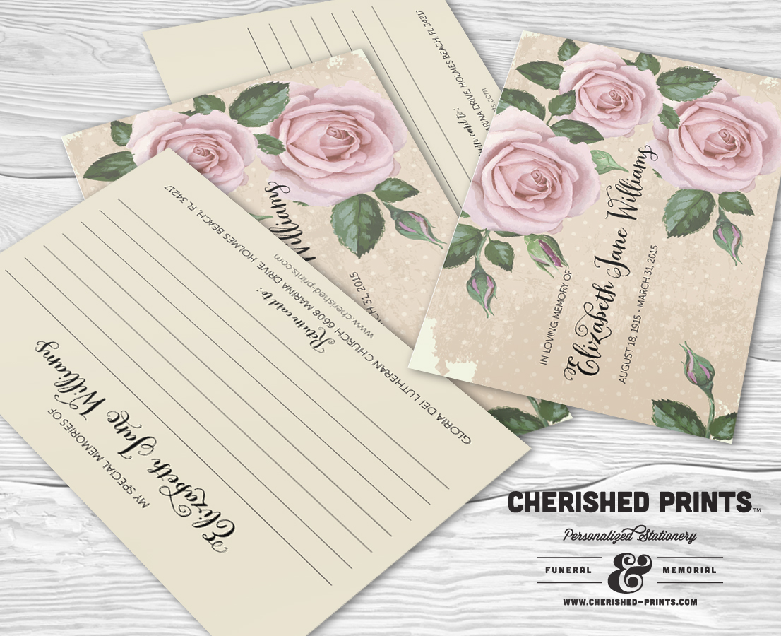 purple roses memory cards for memorials and funerals