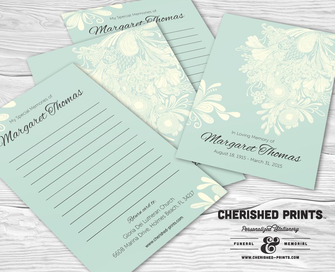 chrysanthemum memory cards for memorial and funerals