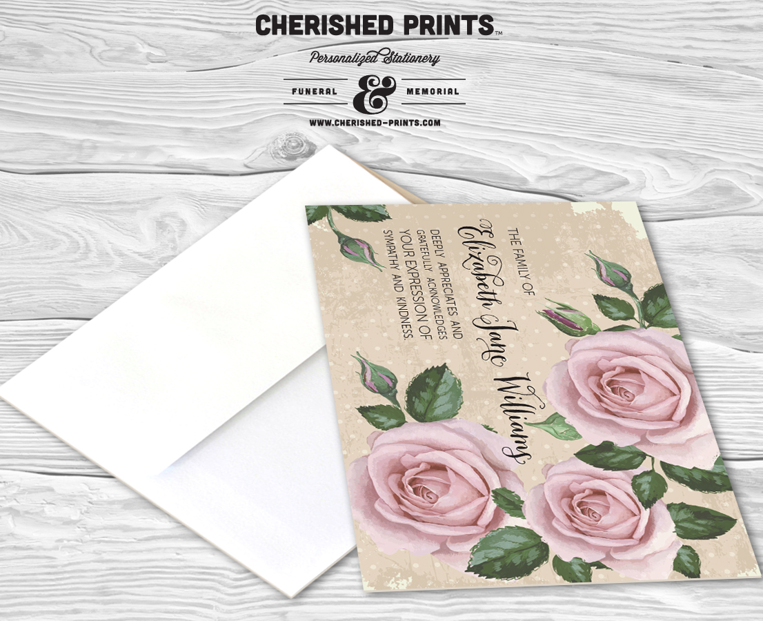 Purple Roses Thank You Card